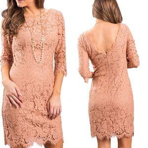 Women's Nude Peach Elegant Floral Lace Dress